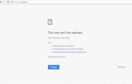 MeydanTV's website as accessed from inside Azerbaijan
